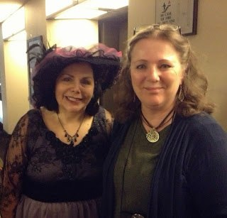 Carrie dressed Edwardian Style with author friend Mary Vee