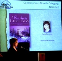 After a delicious dinner, it was a thrill to see my book and photo go up on the big screen and then hear my name called as the second place winner.