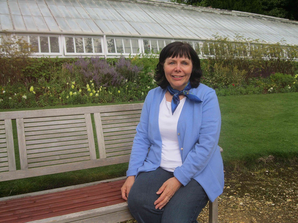 In the garden at Highclere, greenhouse in the background