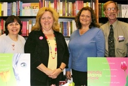 Carrie, Mindy Starns Clark, Cathy Gohlke, and David Brollier—all members of the Philadelphia ACFW group take part in a book signing at The Vine Christian Bookstore in Springield, PA.