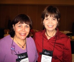 Carrie with Beth White who first encouraged her to join ACFW. Beth writes romantic suspense. Her latest is OFF THE RECORD.