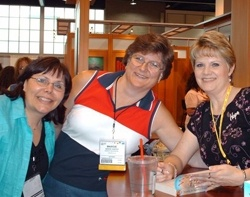 Carrie and Margie Vawter (our freelance editor for Kiss the Bride) at Kim Sawyer's book signing at ICRS in Denver, July 2006. Kim was signing her first book with Bethany House - WAITING FOR SUMMER'S RETURN.