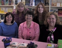 Carrie with Philly ACFW friends Terri Gillespie, Gayle Roper, Tiff Miller, and Mindy Starns Clark at the May 13th book signing.